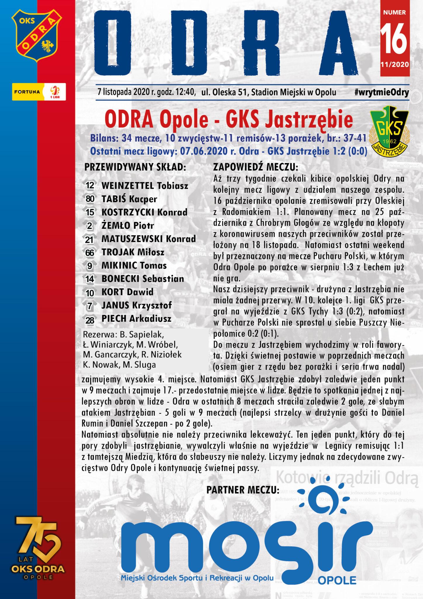 Odra Opole – GKS Jastrzębie