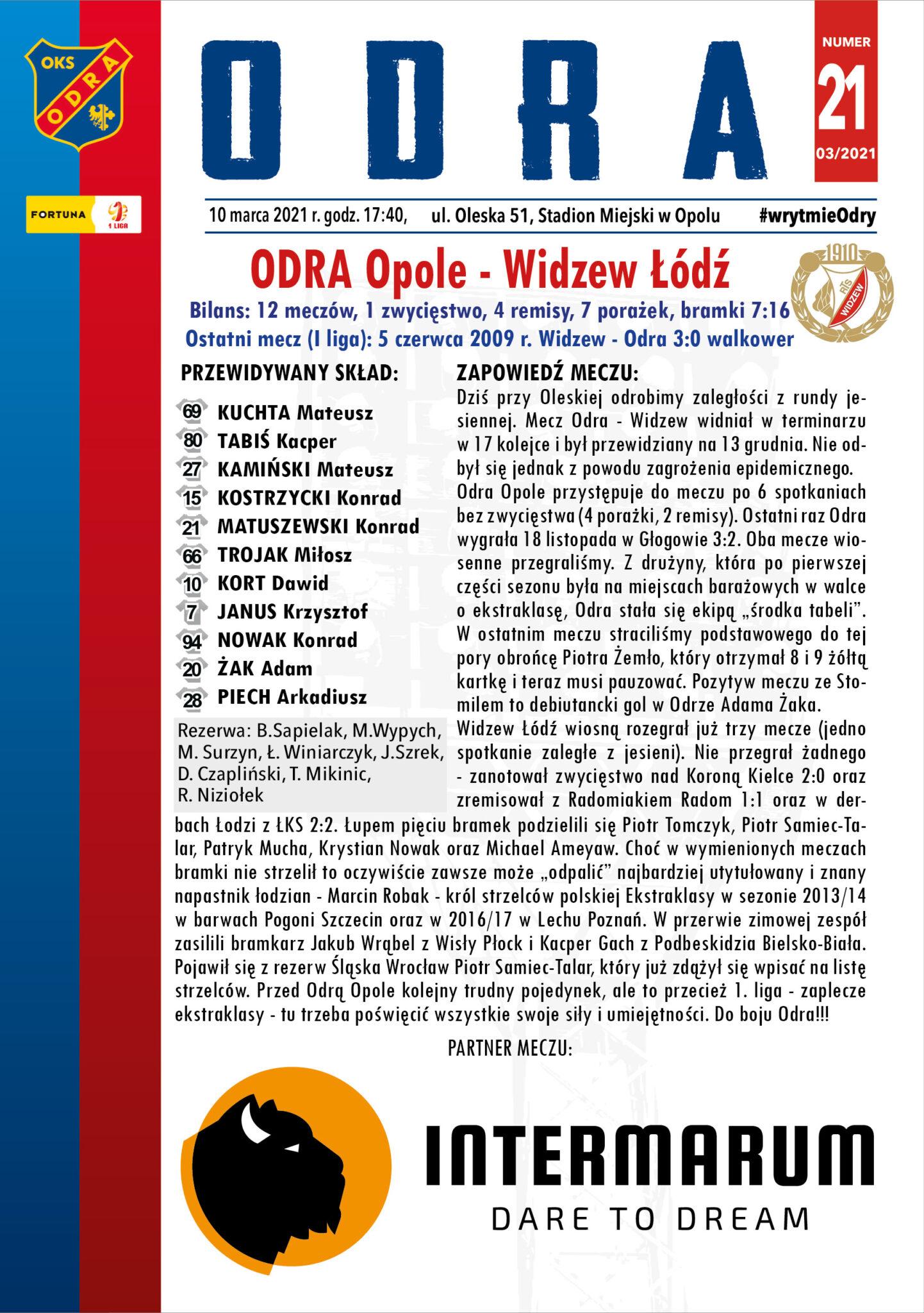 Odra Opole – Widzew Łódź