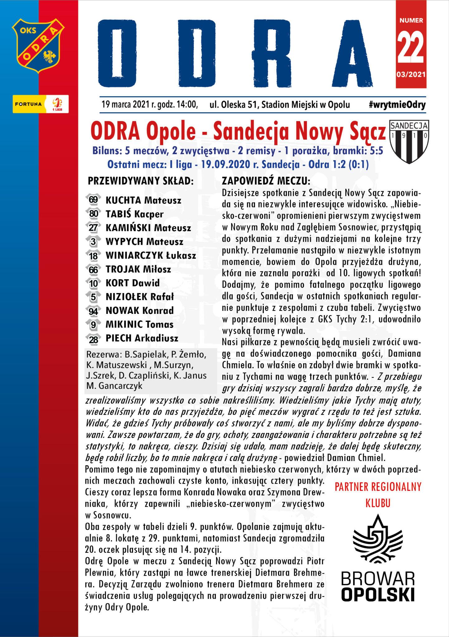 Program meczowy #ODRSAN