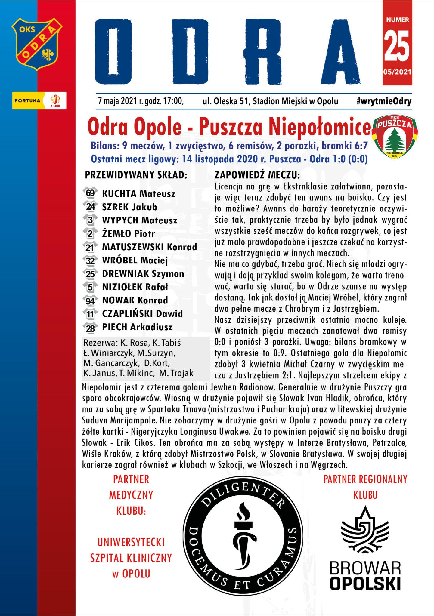 Program meczowy Odra